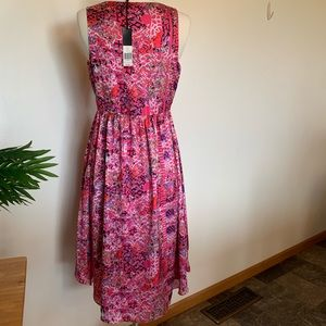 Cynthia Rowley abstract pattern floral pink dress